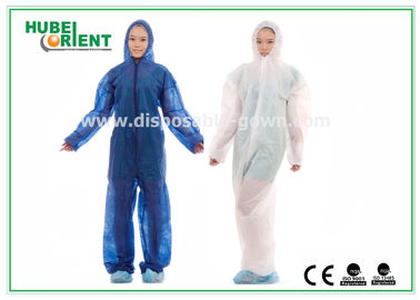 Hooded Disposable Protective Coverall With Elastic Wrist / Ankle / Waist,with feetcover or without feetcover